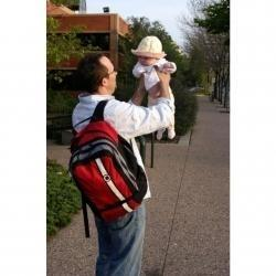 Dad with diaper backpack.