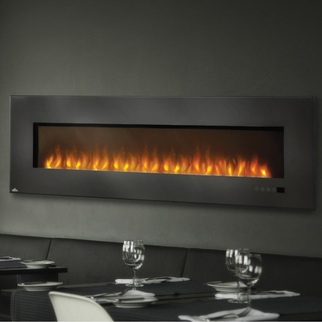 Detailed information on Napoleon wall mounted linear electric fireplaces.