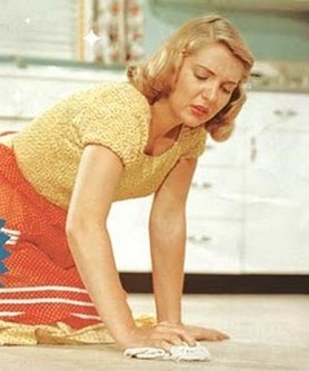 Woman mopping the floors.