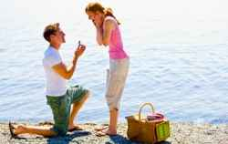 Man proposing with a ring.