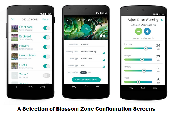Blossom zone configuration screens