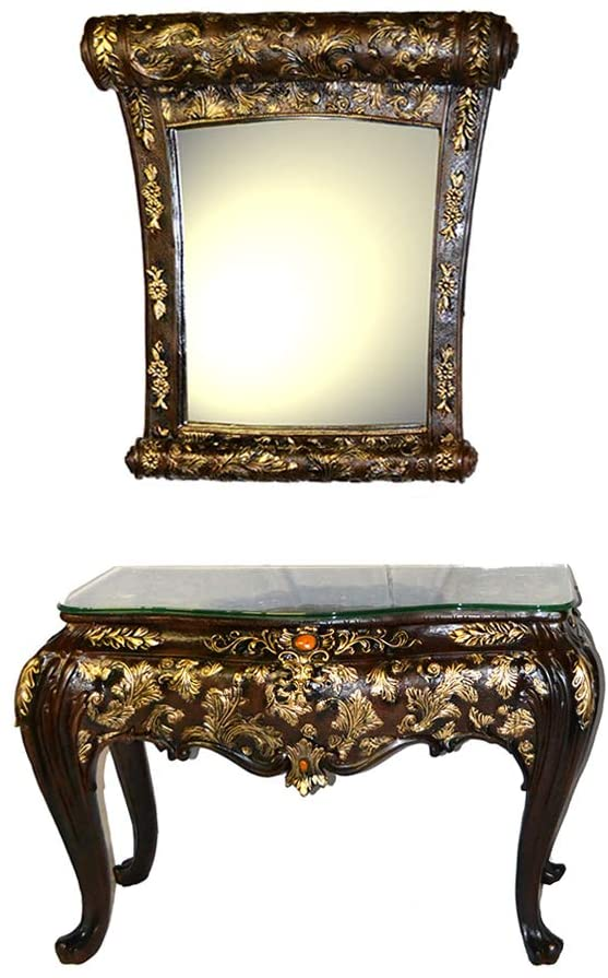 Baroque Black and Gold Console Table on Four Legs with Hanging Mirror