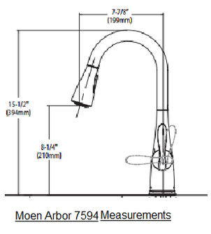 Moen Arbor 7594 Faucet Measurements