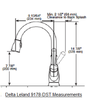 Delta Leland 9178-DST Faucet Measurements