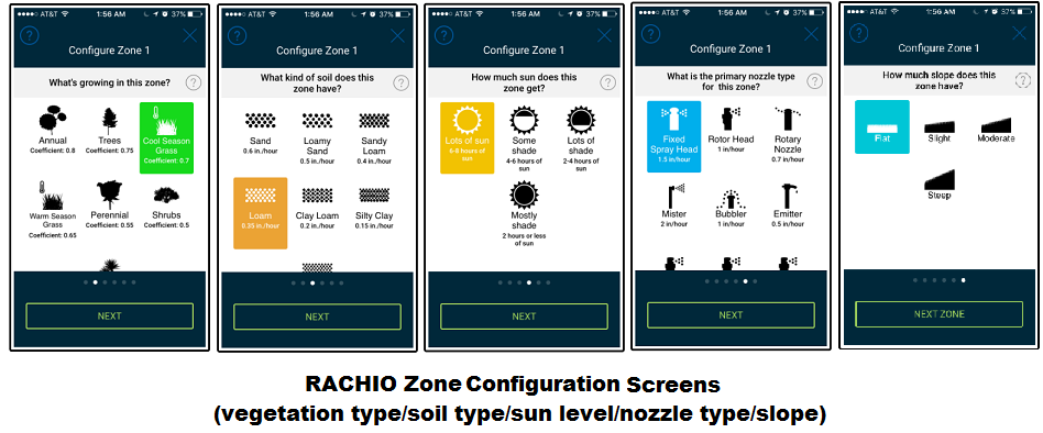 Rachio zone configuration screens